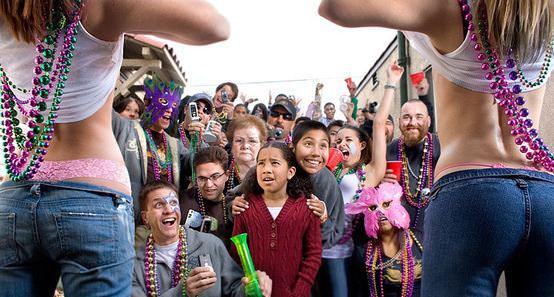 New Orleans Mardi Gras Women Flashing