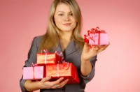 woman giving gifts