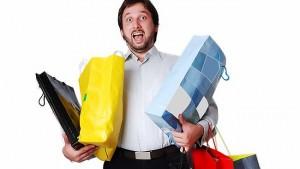 man shopping bags