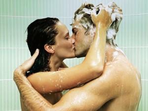 man woman shower