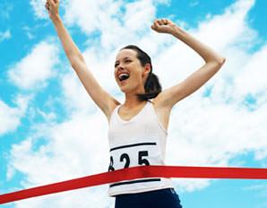 woman finish line