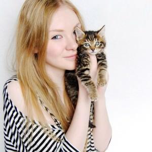 woman kitten