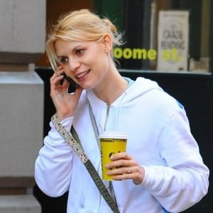 Claire Danes walks her Schnoodle, Weegee to a coffee shop in Soho, NYC