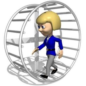 woman hamster wheel