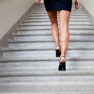 woman walking stairs
