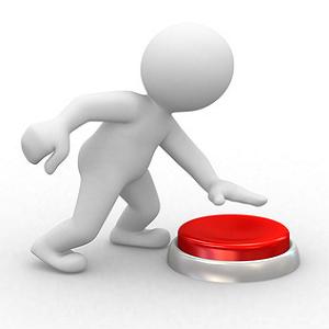 man pushing button