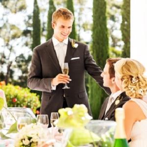 man speaking at wedding