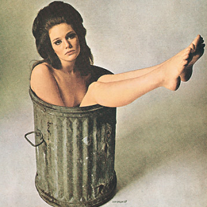 woman in trash can