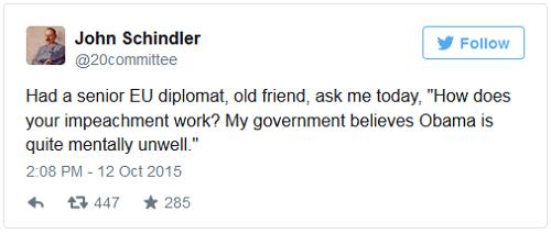 john schindler tweet obama