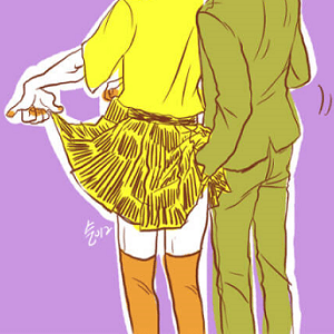man hand up skirt