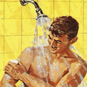 man taking shower