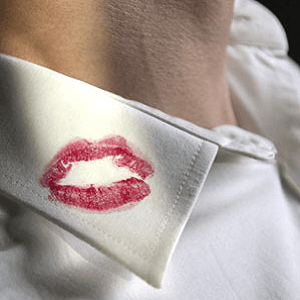 man lipstick on collar