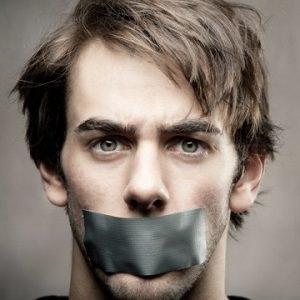 man silent