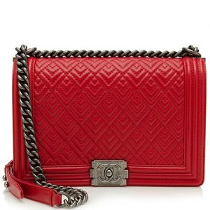 chanel calfskin quilted handbag red