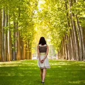 woman trees