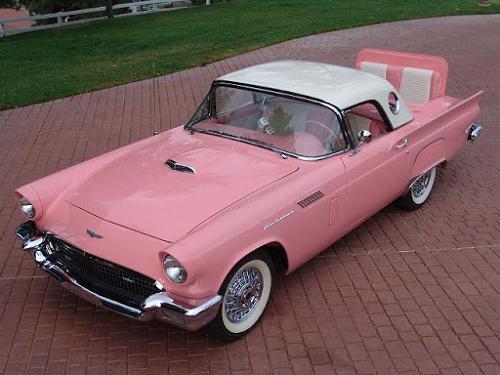 car 1957 t bird pink