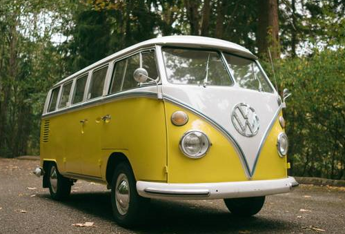 car 1965 volkswagon bus yellow